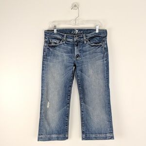 7 For All Mankind Distressed Denim Crop Dojo Jean